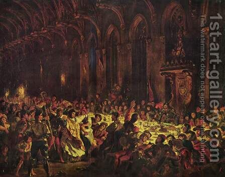 Murder of the bishop von Luettich by Eugene Delacroix - Reproduction Oil Painting