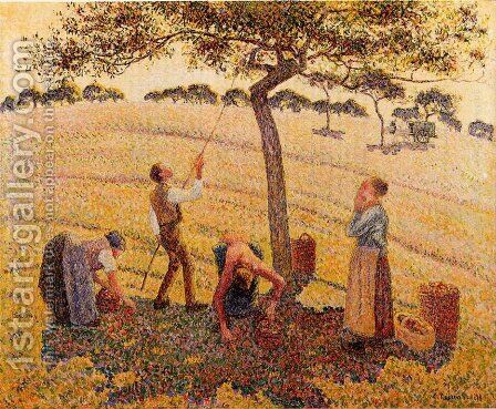 Apple harvest at Eragny by Camille Pissarro - Reproduction Oil Painting