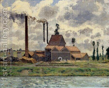 Factory at Pontoise 1 by Camille Pissarro - Reproduction Oil Painting