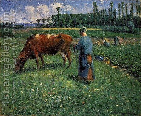 Girl Tending a Cow in a Pasture by Camille Pissarro - Reproduction Oil Painting
