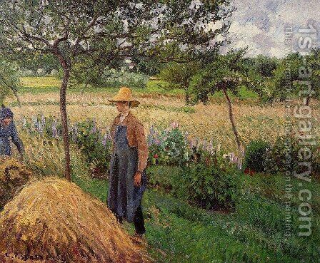 Grey Weather, Morning with Figures, Eragny by Camille Pissarro - Reproduction Oil Painting