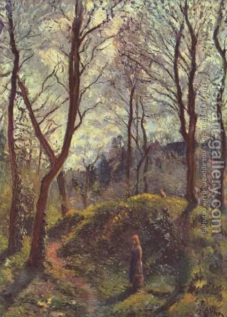 Landscape with large trees by Camille Pissarro - Reproduction Oil Painting