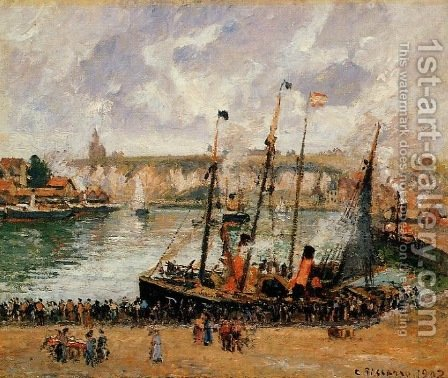 The Inner Harbor, Dieppe 2 by Camille Pissarro - Reproduction Oil Painting