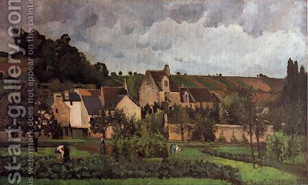 View of l'Hermitage at Pontoise by Camille Pissarro - Reproduction Oil Painting