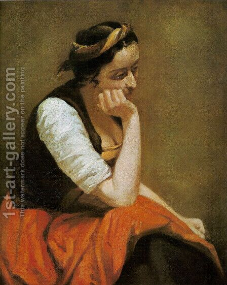 A thinking girl by Jean-Baptiste-Camille Corot - Reproduction Oil Painting