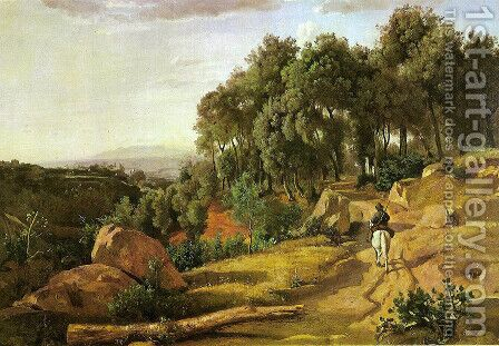 A View near Volterra by Jean-Baptiste-Camille Corot - Reproduction Oil Painting