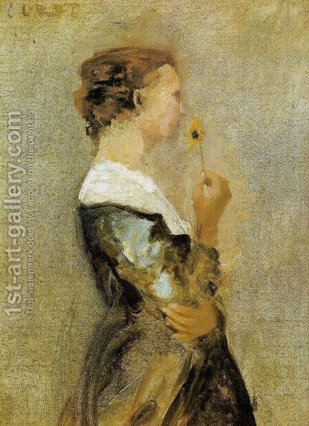 A woman with a flower by Jean-Baptiste-Camille Corot - Reproduction Oil Painting