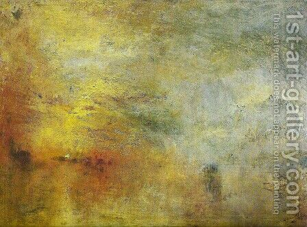 Sun Setting over a Lake by Turner - Reproduction Oil Painting