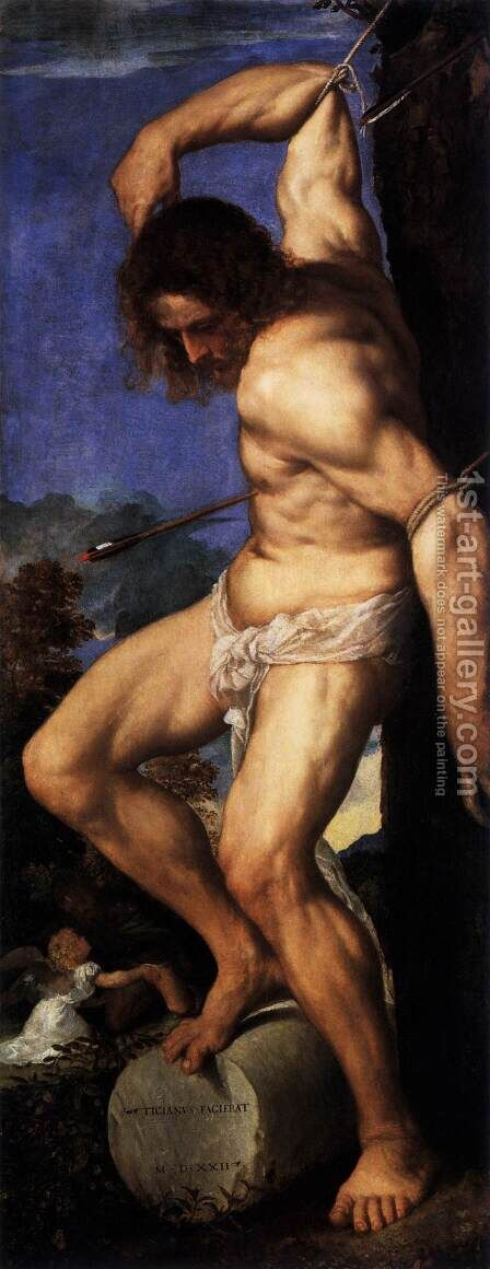 Polyptych of the Resurrection, St Sebastian by Tiziano Vecellio (Titian) - Reproduction Oil Painting