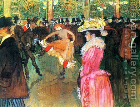 At the Moulin Rouge, The Dance by Toulouse-Lautrec - Reproduction Oil Painting