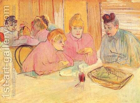 The ladies in the brothel dining-room by Toulouse-Lautrec - Reproduction Oil Painting