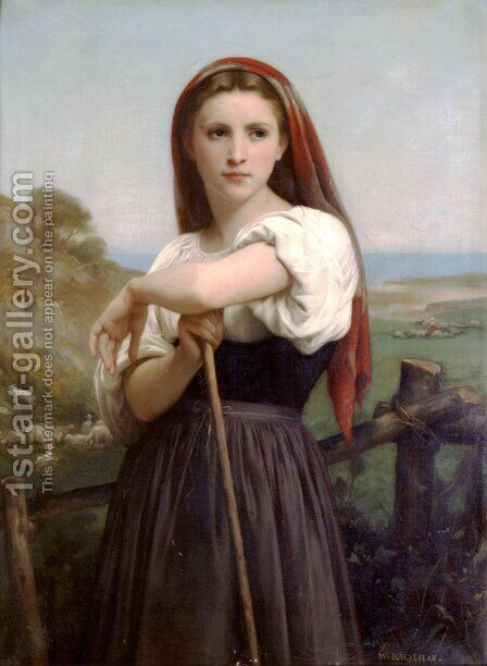 Young Shepherdess by William-Adolphe Bouguereau - Reproduction Oil Painting