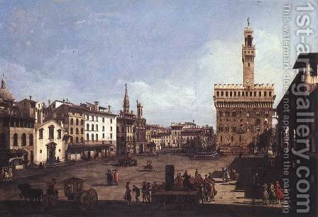 La Piazza della Signoria a Firenze by (Giovanni Antonio Canal) Canaletto - Reproduction Oil Painting