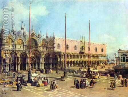 La Piazza San Marco by (Giovanni Antonio Canal) Canaletto - Reproduction Oil Painting