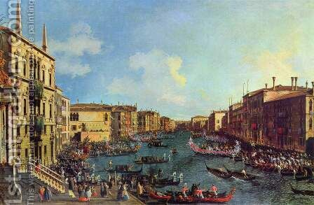 La Regata Vista da Ca'Foscari (Regatta vom Haus Foscari aus gesehen) by (Giovanni Antonio Canal) Canaletto - Reproduction Oil Painting
