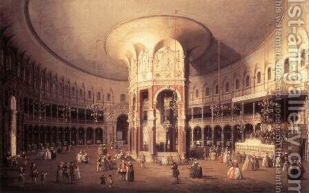London, Ranelagh, Interior of the Rotunda by (Giovanni Antonio Canal) Canaletto - Reproduction Oil Painting