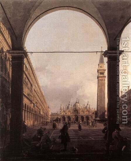 Piazza San Marco, Looking East from the North-West Corner by (Giovanni Antonio Canal) Canaletto - Reproduction Oil Painting