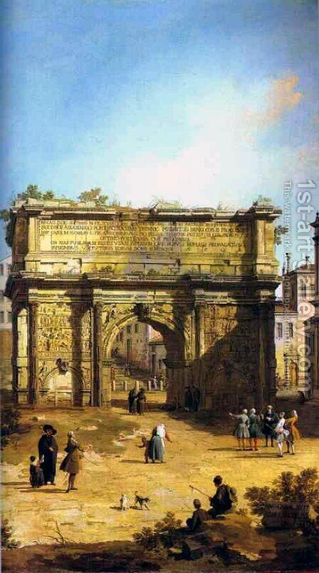 Rome, The Arch of Septimius Severus by (Giovanni Antonio Canal) Canaletto - Reproduction Oil Painting