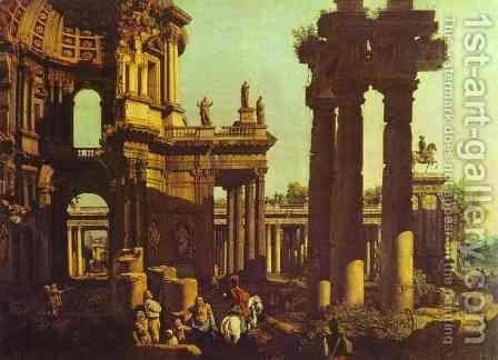 Ruins of a Temple by (Giovanni Antonio Canal) Canaletto - Reproduction Oil Painting