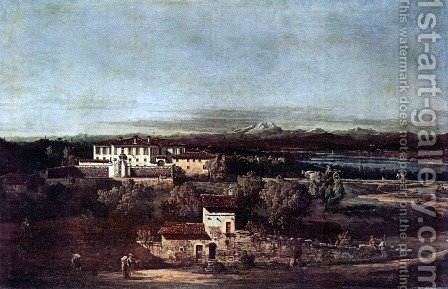 The village Gazzada viewed from southeast to the Villa Melzi d'Eril by (Giovanni Antonio Canal) Canaletto - Reproduction Oil Painting