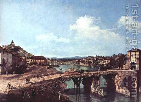 Turin viewed from the north-east to the ancient bridge over the Po by (Giovanni Antonio Canal) Canaletto - Reproduction Oil Painting