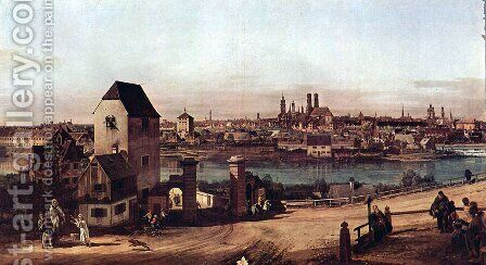 View from Munich, The Bridge and the Isar by (Giovanni Antonio Canal) Canaletto - Reproduction Oil Painting
