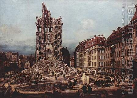 View of Dresden, the ruins of the Cross Church, seen from the east by (Giovanni Antonio Canal) Canaletto - Reproduction Oil Painting
