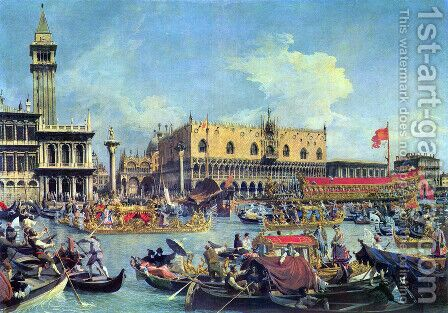 View of the Bacino di San Marco (St Mark's Basin) 2 by (Giovanni Antonio Canal) Canaletto - Reproduction Oil Painting