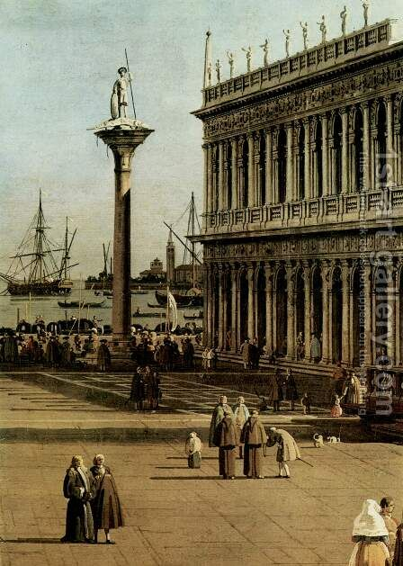 La Piazzetta, Detail by (Giovanni Antonio Canal) Canaletto - Reproduction Oil Painting