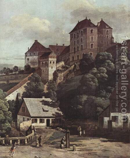 View from Pirna, Pirna from the south side of view, with fortifications and Upper (gate), and sun-stone fortress, de by (Giovanni Antonio Canal) Canaletto - Reproduction Oil Painting