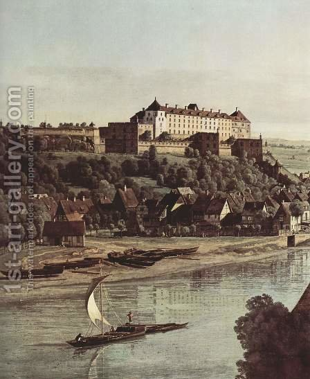 View from Pirna, Pirna vineyards at Prosta, with Fortress Sonnenstein, detail by (Giovanni Antonio Canal) Canaletto - Reproduction Oil Painting