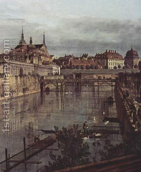 View of Dresden, the ancient moat of the kennel, the Orangerie, detail by (Giovanni Antonio Canal) Canaletto - Reproduction Oil Painting