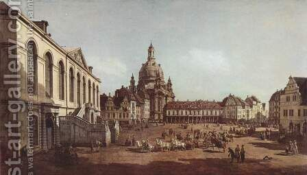 View of Dresden, the Neumarkt in Dresden, Jewish cemetery, with women's Church and the Old Town Watch, detail by (Giovanni Antonio Canal) Canaletto - Reproduction Oil Painting