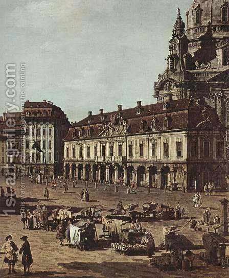 View of Dresden, the Neumarkt Moritz of the road, detail by (Giovanni Antonio Canal) Canaletto - Reproduction Oil Painting