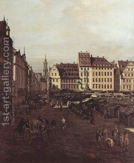 View of Dresden, The Old Market Square from the Seegasse, detail by (Giovanni Antonio Canal) Canaletto - Reproduction Oil Painting