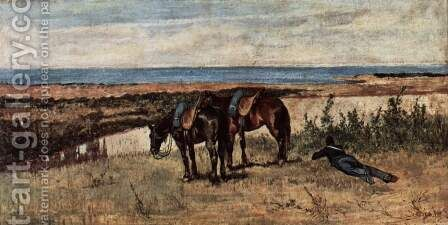 A soldier with two horses on the shore of the sea by Giovanni Fattori - Reproduction Oil Painting