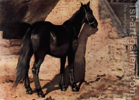 Black horse in the sun by Giovanni Fattori - Reproduction Oil Painting