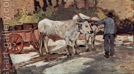Farmer with bullock carts by Giovanni Fattori - Reproduction Oil Painting