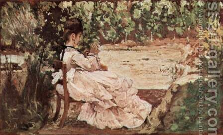Giovanni's wife in the garden by Giovanni Fattori - Reproduction Oil Painting