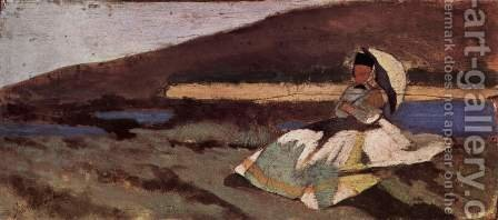 Lady sitting outdoors by Giovanni Fattori - Reproduction Oil Painting