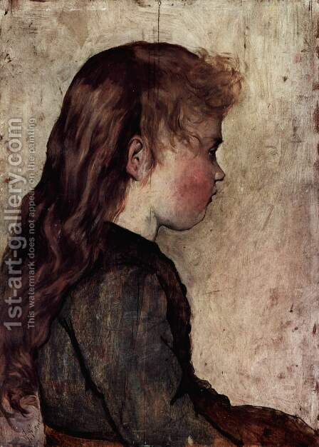 Portrait of a peasant girl in profile by Giovanni Fattori - Reproduction Oil Painting