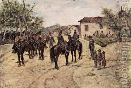 Rest of the Cavalry unit by Giovanni Fattori - Reproduction Oil Painting
