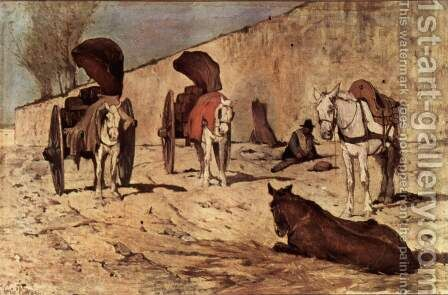 Roman cars by Giovanni Fattori - Reproduction Oil Painting