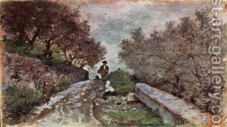 Street through the olive grove with two passers by Giovanni Fattori - Reproduction Oil Painting