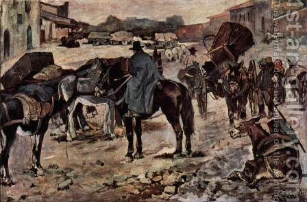Village street with farmers, mules and dealers by Giovanni Fattori - Reproduction Oil Painting