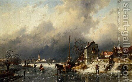 A Frozen River Landscape with a Horsedrawn Sleigh by Charles Henri Joseph Leickert - Reproduction Oil Painting