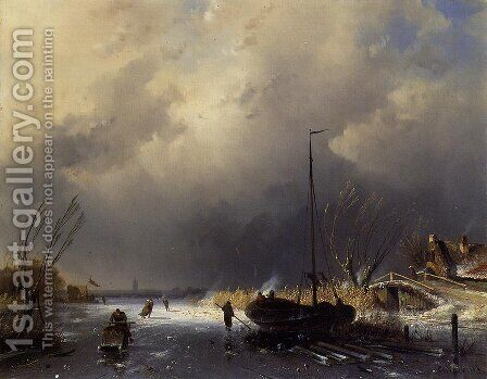 A Winter Landscape with Skaters by Charles Henri Joseph Leickert - Reproduction Oil Painting