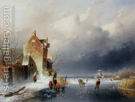 Ice View With Skaters by Charles Henri Joseph Leickert - Reproduction Oil Painting