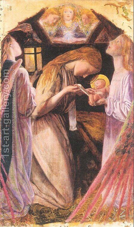 The Nativity (detail) by Arthur Hughes - Reproduction Oil Painting