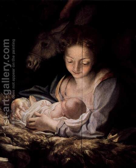 Adoration of the Shepherds (The Night), detail, Maria and child by Correggio (Antonio Allegri) - Reproduction Oil Painting
